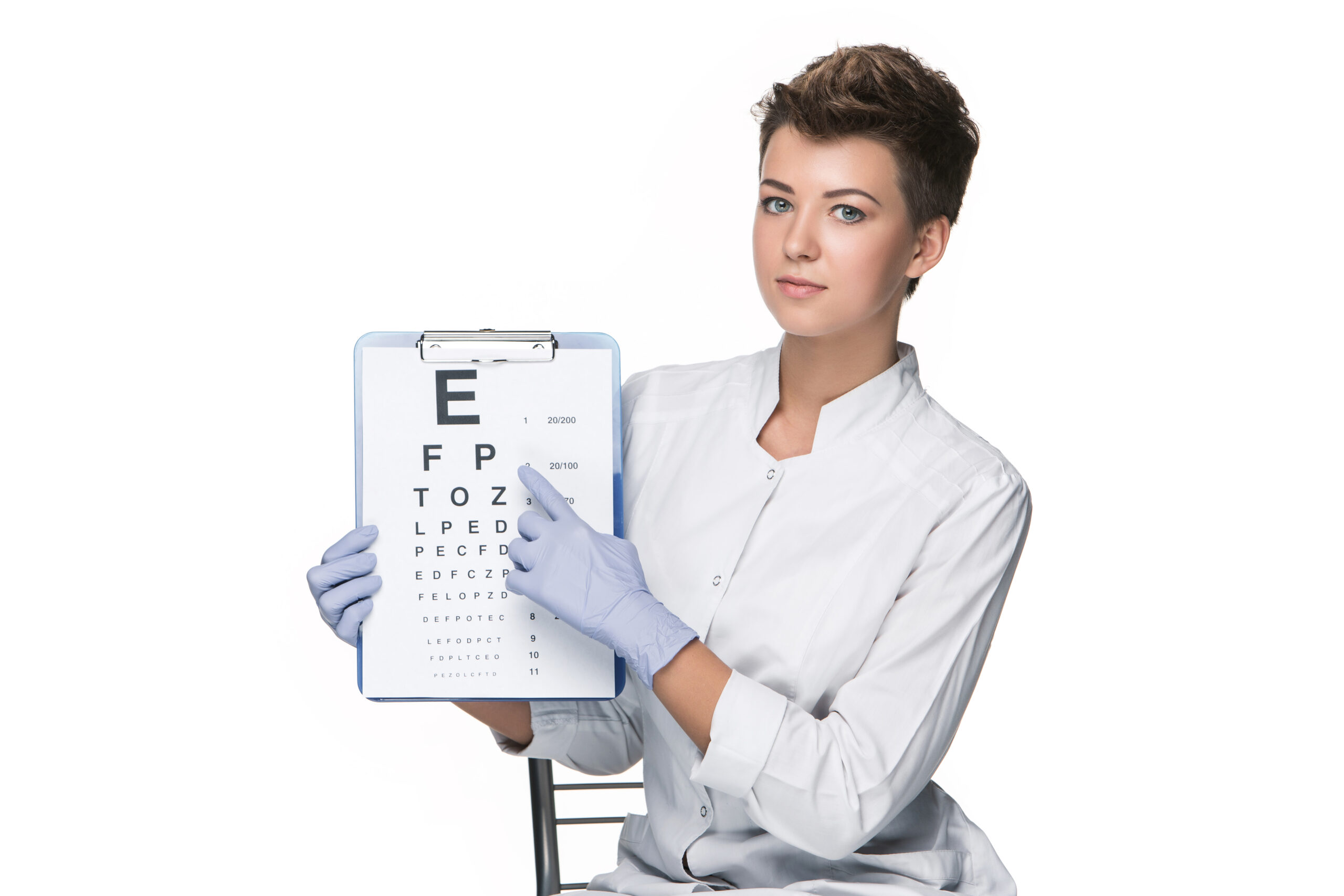 healthcare, medicine and vision concept - woman as ophthalmologist with eye chart isolated on white background